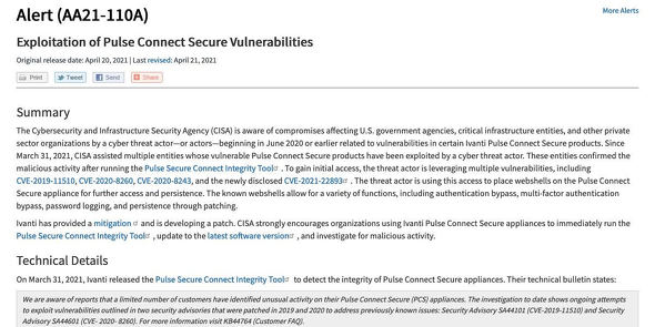 Exploitation of Pulse Connect Secure Vulnerabilities | CISA