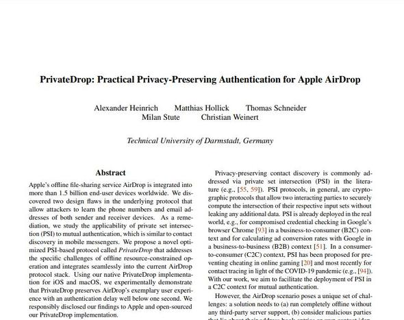 PrivateDrop - Breaking and Fixing Apple AirDrop