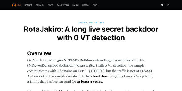 RotaJakiro: A long live secret backdoor with 0 VT detection