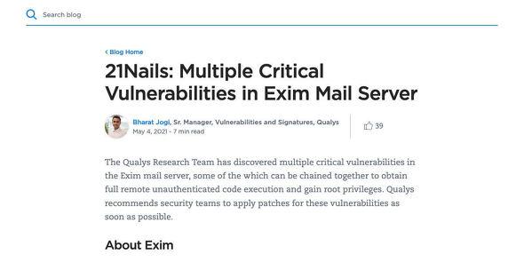 21Nails: Multiple Critical Vulnerabilities in Exim Mail Server|Qualys Security Blog