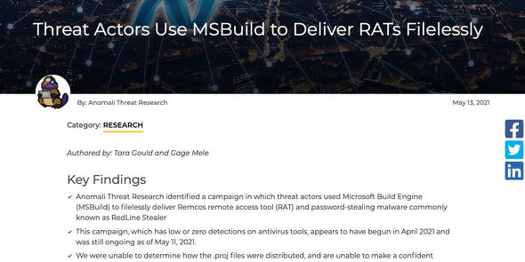 MSBuild Used By Threat Actors to Deliver RATs Filelessly