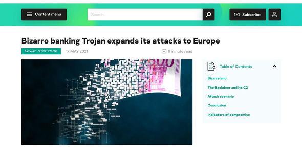 Bizarro banking Trojan expands its attacks to Europe Securelist