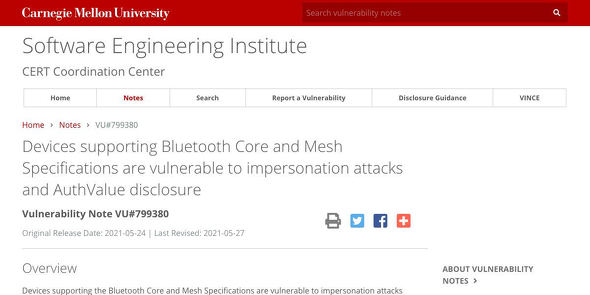VU#799380 - Devices supporting Bluetooth Core and Mesh Specifications are vulnerable to impersonation attacks and AuthValue disclosure
