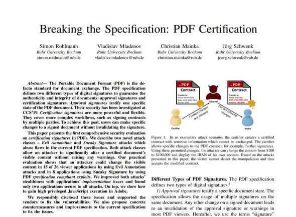 発表された論文「Braking the Specification:PDF Certification」の抜粋(ルール大学ボーフム公開資料より)