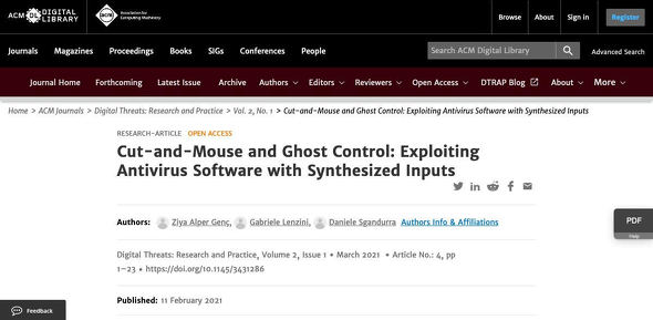 Cut-and-Mouse and Ghost Control: Exploiting Antivirus Software with Synthesized Inputs