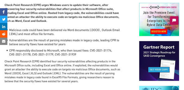 Four Security Vulnerabilities were Found in Microsoft Office - Check Point Software