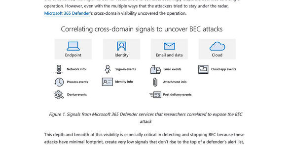 Behind the scenes of business email compromise: Using cross-domain threat data to disrupt a large BEC campaign   Microsoft Security Blog