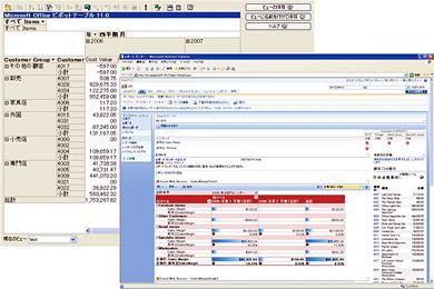 ピボットテーブルによる分析(左)とIEでレポートを表示(右)