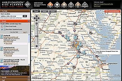「Rider Planner」のサンプル画面