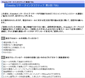 ITmedia リサーチインタラクティブ第3回読者調査「ビジネスインテリジェンス」の回答ページの画面イメージ