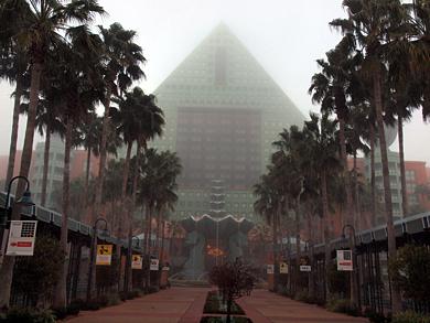 会場である「Walt Disney World Dolphin」は極端な冷え込みによって朝霧が立ち込めた