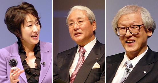 左から福島敦子氏、山下徹社長、藤沼彰久会長