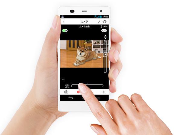 スマホアプリ「ホームネットワークW」でペットの様子や室温を確認できる