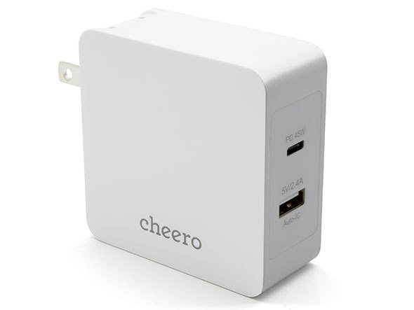 「cheero 2 port PD Charger(PD 45W+USB)」