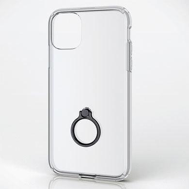 スマホリング付きのケース。写真はエレコムの「iPhone 11用ハイブリッドケース/リング付」(PM-A19CHVCRBK)