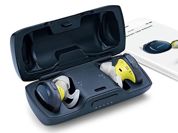 イヤフォン単体で約5時間、ケースでフル充電するとさらに約10時間使用できるBOSE(ボーズ)の「SoundSport Free wireless headphone」
