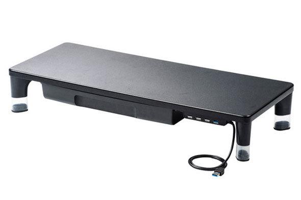 サンワサプライ「USBハブ・引出し付机上ラック MR-LC805BK」.サンワサプライ「USBハブ・引出し付机上ラック MR-LC805BK」