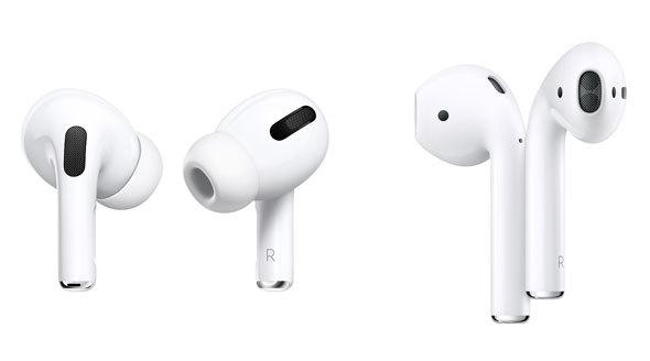 Appleのイヤフォン「AirPods」シリーズでは、「AirPods Pro」(写真左)がカナル型、「AirPods」(写真右)がインナーイヤー型
