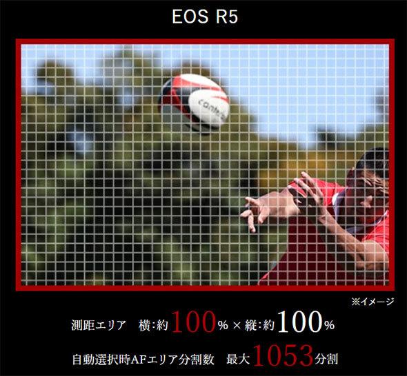 EOS R5の測距エリアはほぼ全画面に拡大