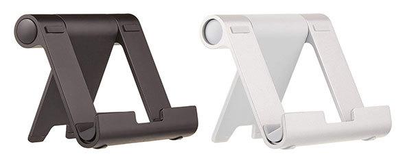 Amazonベーシック「タブレットスタンドマルチアングル ポータブルスタンド」は2色展開