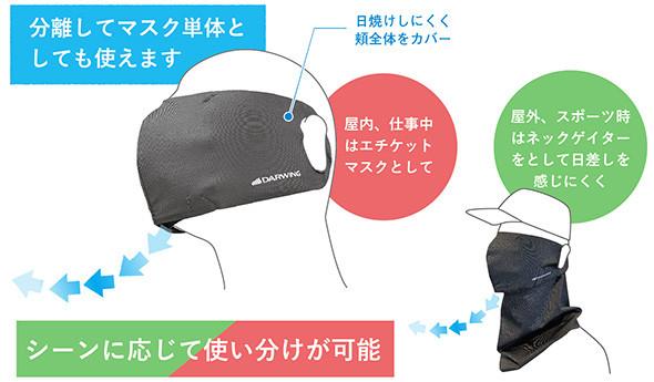 「DARWING murenMaskネックゲイター付き」はマスクとネックカバー(ネックゲイター)がセパレートで使い分けができる製品