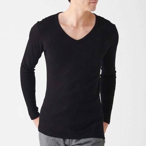 「綿とウールで真冬もあったかVネック長袖Tシャツ」