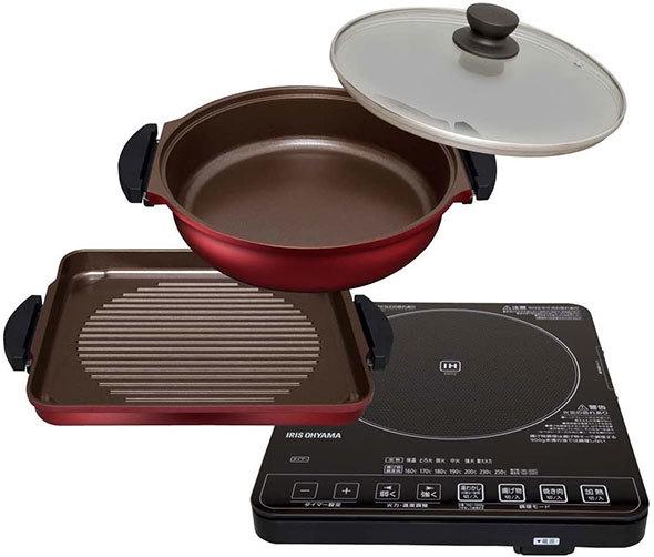 鍋類がセットになっている、アイリスオーヤマ「ガラストップIHクッキングヒーター&焼き肉プレート&鍋セット IHC-T51S-B」