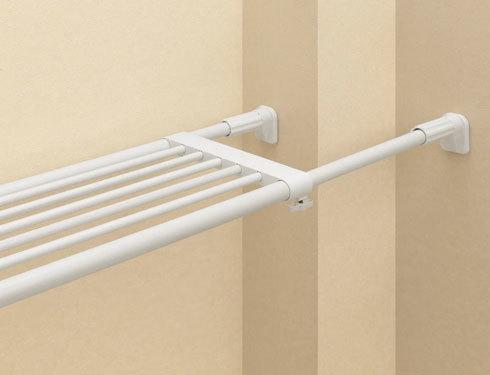つっぱり棒、つっぱり棚:長さと圧着部の大きさをチェック