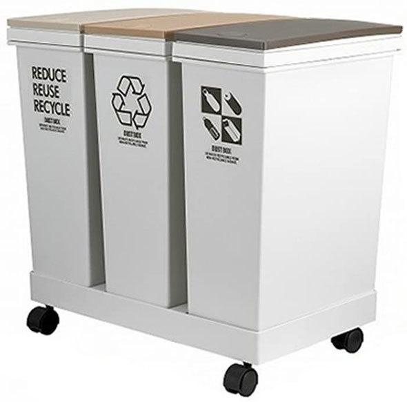 アスベル「資源ゴミ横型3分別ワゴン」
