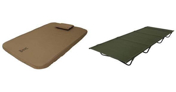「寝袋(シュラフ)」「マット」「ベッド(コット)」