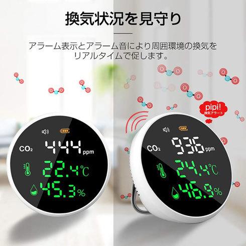 二酸化炭素濃度測定器:アラーム機能が付いていると便利