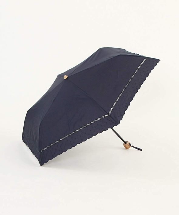 Afternoon Tea LIVING(アフタヌーンティー・リビング)「スカラップドット刺繍晴雨兼用折りたたみ傘 日傘」