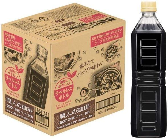 UCC「職人の珈琲 ボトルコーヒー(ラベルレス) 930ml×12本」