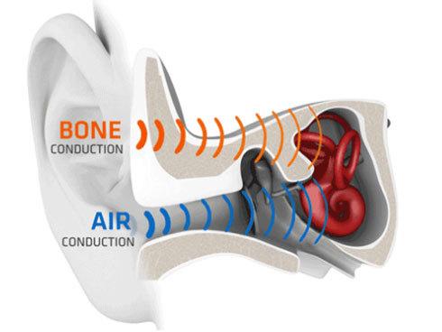 通常の聞こえ方である空気伝導に対し、頭骨の振動で音を伝えるのが骨伝導