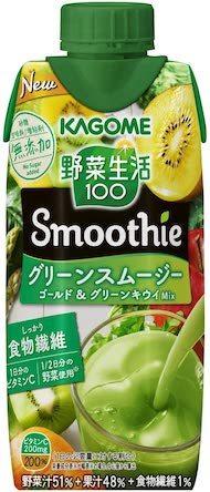 カゴメ「野菜生活100 Smoothie グリーンスムージー ゴールド&グリーンキウイMix」