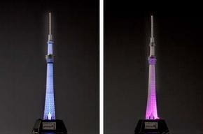 """中央部が水色に光る""""粋""""風(左)、外側の柱を江戸紫色に照らす""""雅""""風"""