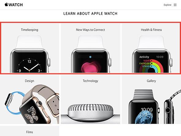 Apple Watchの公式ページには、機能紹介ページが追加されています
