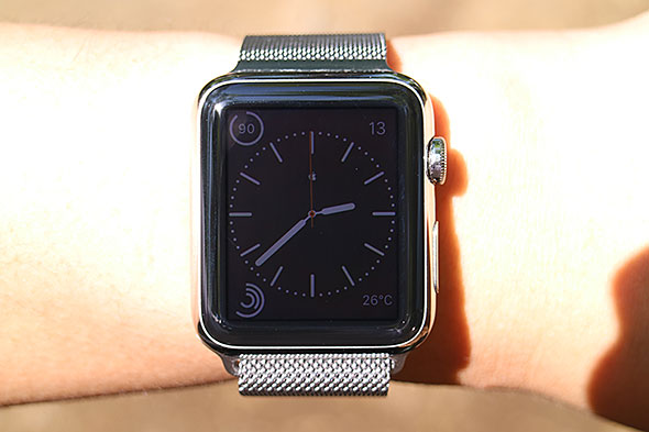 Apple Watch under sunlight