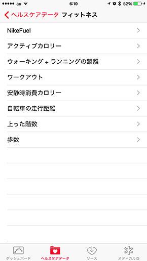 iPhone ヘルスケアアプリ