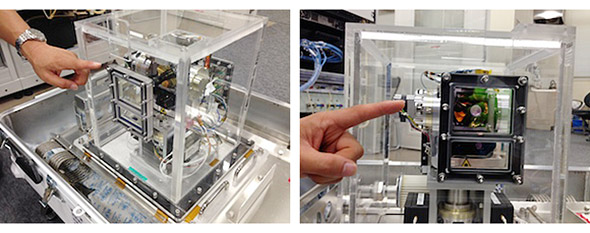超小型宇宙光通信モジュール「SOTA」の同型機の外観