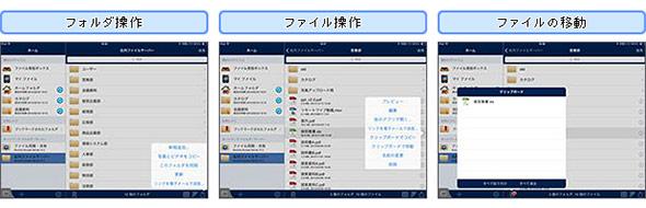PCと同等の操作性を提供するユーザーインタフェース例