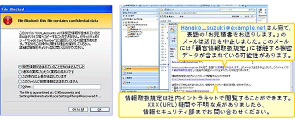 DLPツールによる機密文書の権限外操作時の通知画面例