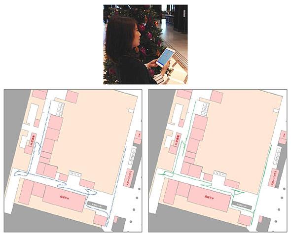 東京・丸の内エリアでの地磁気屋内測位の実証実験の様子