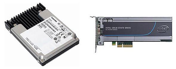 SSD(左)とPCIe SSD(右)の外観例