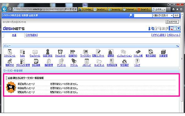グループウェアのポータル画面