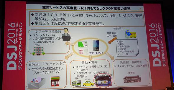 スマートフォンや交通系ICカードと連携することで可能になるIoTおもてなしクラウド事業の概要