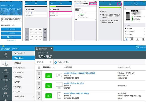 図2 EMMへのデバイス加入の際のユーザー操作の例(上段)と管理画面への表示例(下段)