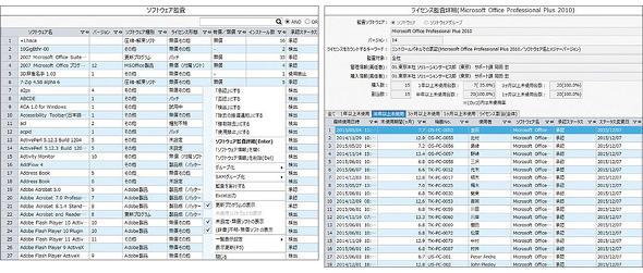 図1 IT資産管理ツールによるソフトウェア資産管理画面の一例