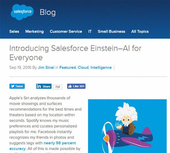 Salesforce Einsteinを紹介する米Salesforce.comの公式ブログ