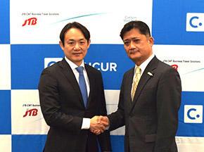 三村真宗社長(左)とJTB-CWTの中村一郎氏